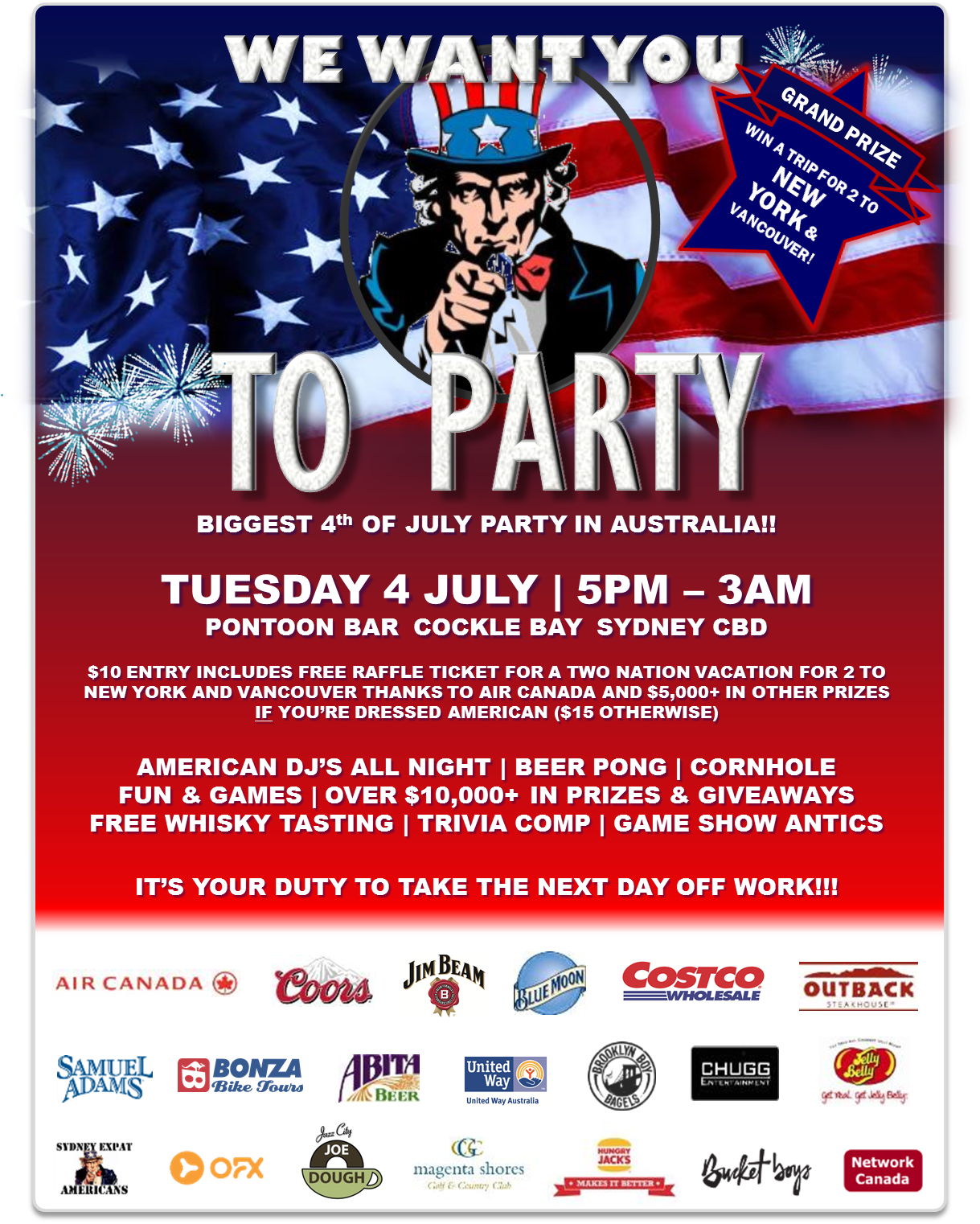 Biggest American Indpendence Day Party in Australia